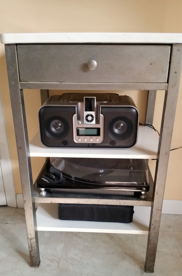 steel cart converted into audio table/center