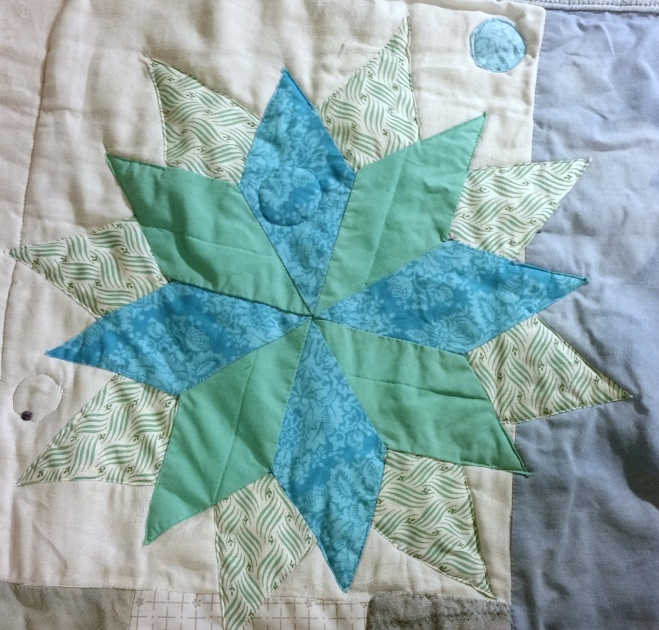 16-point lone star quilt piecing
