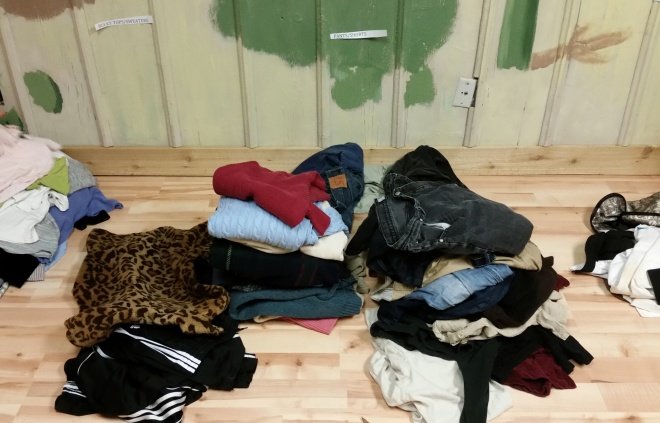 clothing swap organization – sweaters and pants
